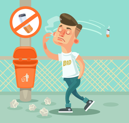 Bad boy character throw garbage. flat cartoon illustration Иллюстрация