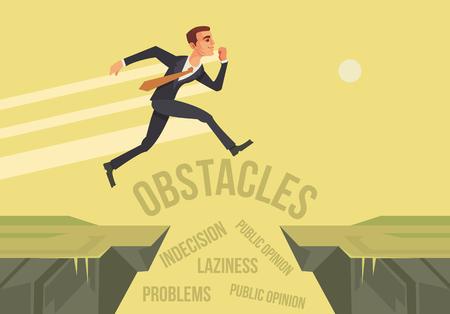 Businessman character jumps over problems. New start up project. flat cartoon illustration Illustration