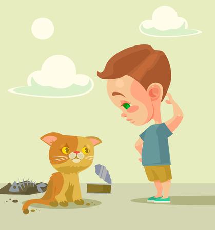 homeless: Little boy and homeless cat. flat cartoon illustration