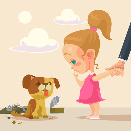 Petite fille et le chien sans-abri. plat illustration de bande dessinée