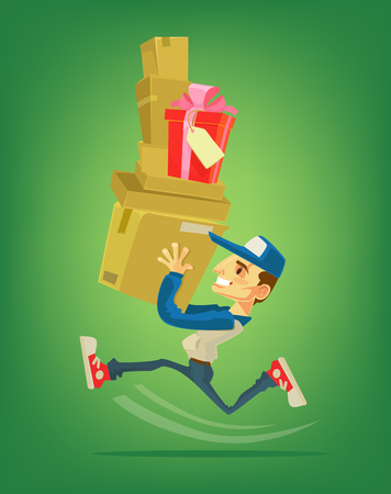 package deliverer: Courier character run with box. Delivery man. flat cartoon illustration
