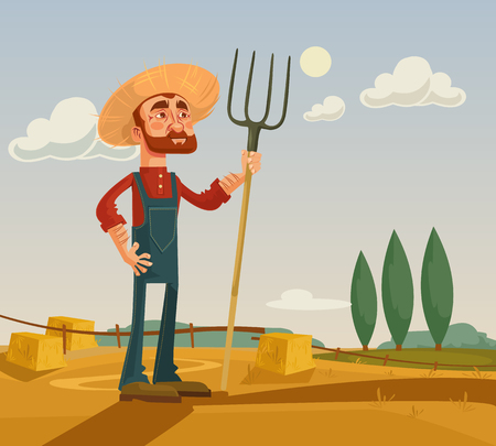 Happy farmer character and farm. flat cartoon illustration Illustration
