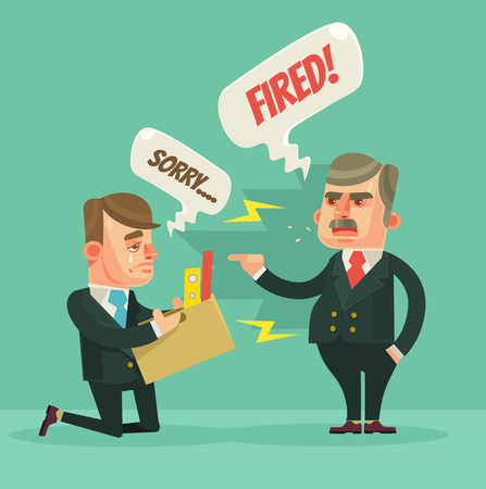 dismissed: Fired office worker. Angry boss character. flat cartoon illustration