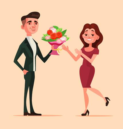 男性キャラクターは、女性に花束の花を与えます。まず日付が大好きです。フラット漫画イラスト  イラスト・ベクター素材