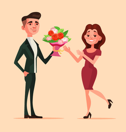 Man character give bouquet flowers to woman. First love date. flat cartoon illustration Иллюстрация