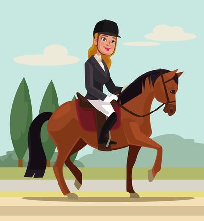 professional sport: Girl character riding horse. Professional sport. flat cartoon illustration