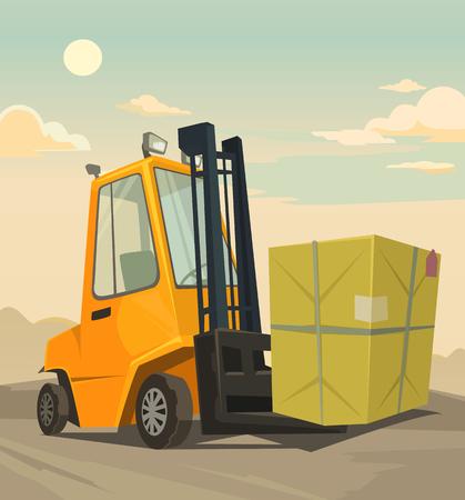 lifter: Loader car. flat cartoon illustration Illustration
