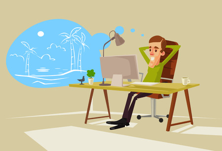 Office worker character dreaming about vacation. flat cartoon illustration