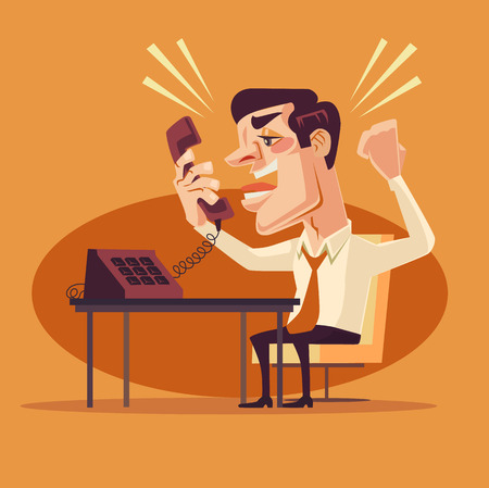Verärgerter Büroangestellter Zeichen am Telefon schreit. flache Karikatur Illustration