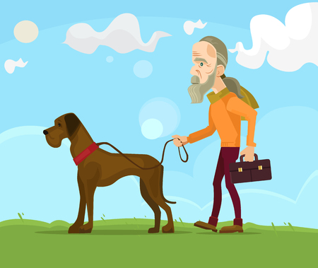 Old man character walking with dog. flat cartoon illustration