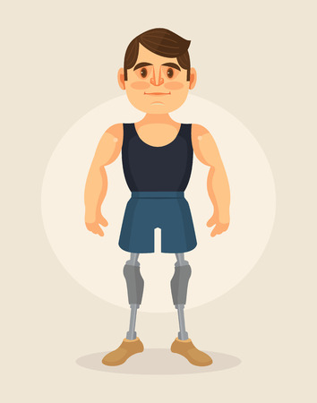 amputation: Man character with foot prosthesis. flat cartoon illustration