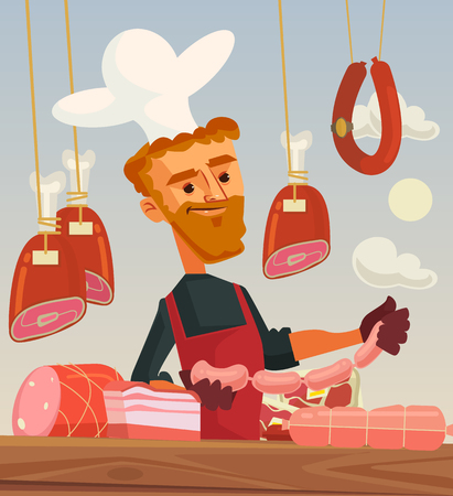 Butcher shop. Meat seller cook man character. flat cartoon illustration