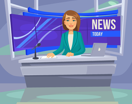 announcer: Anchorwoman character on tv. Breaking News. flat cartoon illustration Illustration