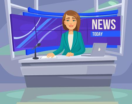Anchorwoman character on tv. Breaking News. flat cartoon illustration Illustration