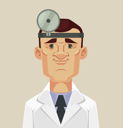 Ophthalmologist doctor character. flat cartoon illustration Illustration