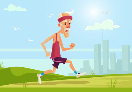 Old sport man character running. Healthy lifestyle. flat cartoon illustration Çizim