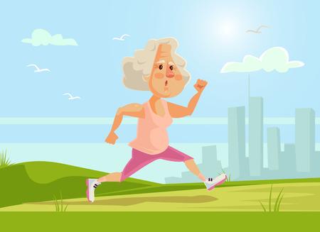 Old sport woman character running. Healthy lifestyle. flat cartoon illustration