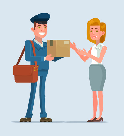 Courier man character brought parcel consumer. flat cartoon illustration