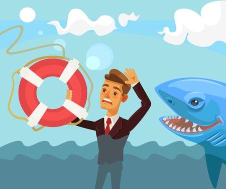 Sinking businessman character. flat cartoon illustration