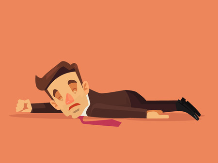 Hard work. Office worker character lying on the floor. flat cartoon illustration