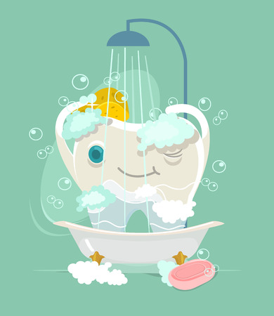 medical shower: Happy tooth character take shower. flat cartoon illustration
