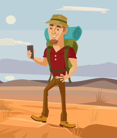 Tourist man character using smart phone. flat cartoon illustration