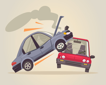 Autounfall. flache Karikatur Illustration Standard-Bild - 67619306