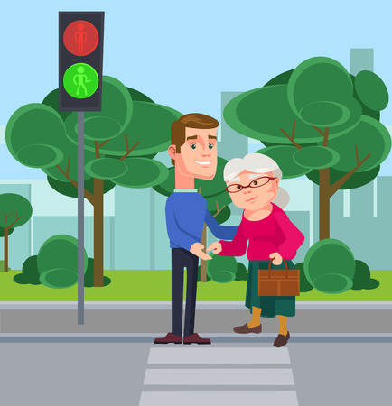 Young man character help old woman cross the street. flat cartoon illustration
