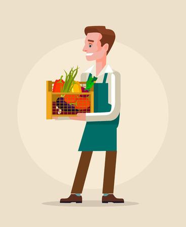 Worker man hold box full of vegetables. flat cartoon illustration