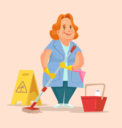 mujer trabajadora: Cleaning woman staff worker character. Vector flat illustration