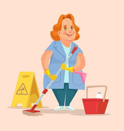 Femme de ménage caractère ouvrier du personnel. Vector illustration plat