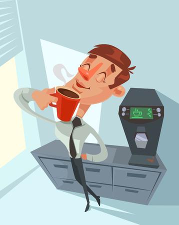 happy office: Coffee break. Happy office worker. Vector flat cartoon illustration