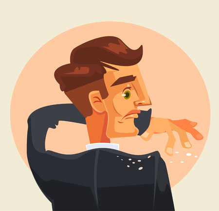 Man character shakes off dandruff from his shoulder. Vector flat cartoon illustration Illustration