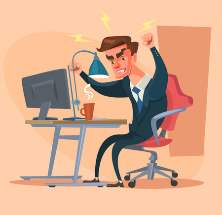 office computer: Angry office man character. Hard work. Vector flat cartoon illustration