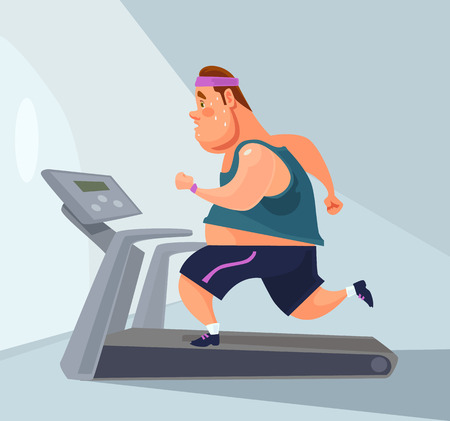 Man character runs on treadmill. Vector flat cartoon illustration