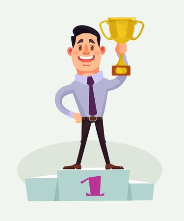 Businessman character winner. Vector flat cartoon illustration