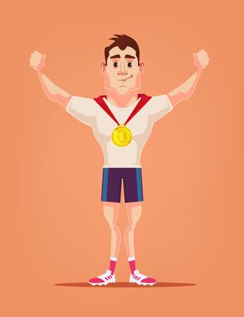 winner man: Winner man character. Vector flat cartoon illustration