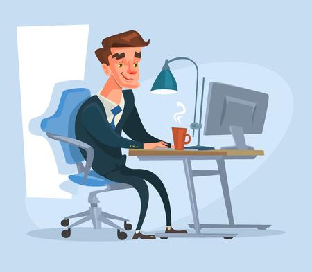 happy office: Happy office worker character work. Vector flat cartoon illustration