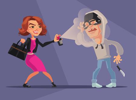 pulverizador: mujer carácter protegido a sí misma de ladrones. Vector ilustración de dibujos animados plana Vectores