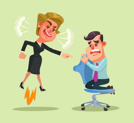 yells: Boss woman character yells at employee man. Vector flat cartoon illustration