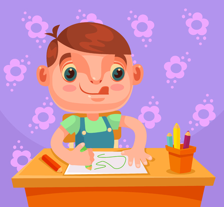 Little boy character draws picture and do homework. Vector flat cartoon illustration