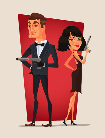 Spy couple characters. Vector flat cartoon illustration Vectores