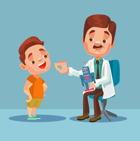 giving: Doctor character giving medicine to little boy patient. Vector flat cartoon illustration