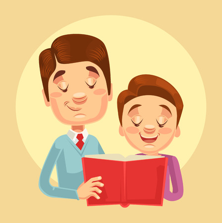 kid book: Father and son characters reading. Vector flat cartoon illustration Illustration