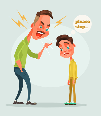 Father character scolds son. Vector flat cartoon illustration