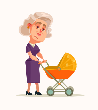 lullaby: Grandmother character walking with newborn. Vector flat cartoon illustration