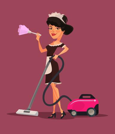 vacuuming: Maid woman character vacuuming. Vector flat cartoon illustration
