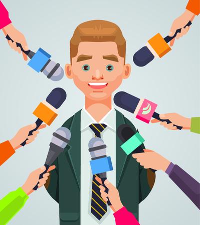 Interview man karakter. Vector platte cartoon illustratie