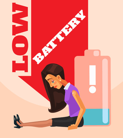 overload: Business woman character no energy battery. Vector flat cartoon illustration