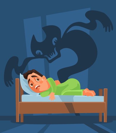 Frightened man character woke up and nightmare ghost. Vector flat cartoon illustration Illustration